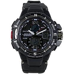 Adixion Sports Resin Strap Black Dial Waterproof Digital Analog Unisex Watch
