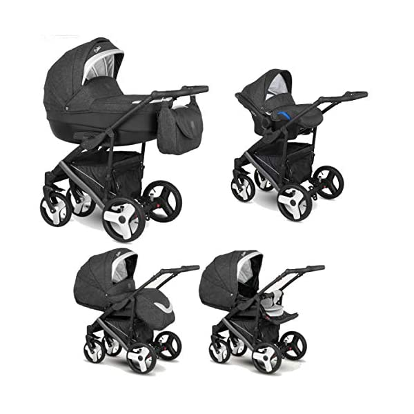 Lux4Kids Stroller Pram 2in1 3in1 Isofix Car seat 12 Colours Free Accessories Leo Anthracite Snow BA-11 4in1 car seat +Isofix Lux4Kids Lux4Kids Leo 3in1 or 2in1 pushchair. You have the choice whether you need a car seat (baby seat certified according to ECE R 44/04 or not). Of course the car is robust, safe and durable Certificate EN 1888:2004, you can also choose our Zoe with Isofix. The baby bath has not only ventilation windows for the summer but also a weather footmuff and a lockable rocker function. The push handle adapts to your size and not vice versa, the entire frame is made of a special aluminium alloy with a patented folding mechanism. 1