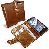 Tuff-Luv Étui en cuir vintage pour smartphone Marron