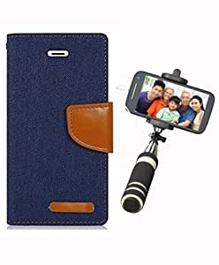 Aart Fancy Wallet Dairy Jeans Flip Case Cover for MotorolaMotoE2 (NavyBlue) + Mini Fashionable Selfie Stick Compatible for all Mobiles Phones By Aart Store