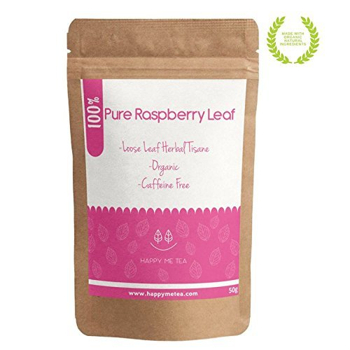 HAPPY ME TEA Raspberry Leaf Tea - 100% Pure Organic Raspberry Tea - Caffeine Free Tea for Pregnancy (50g)