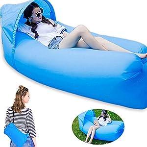 Opard Wasserdichtes Aufblasbares Sofa tragbares Luftbett mit Sonnenschirm für Indoor Outdoor Camping, Reise, Strand (Blau)