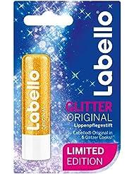 Labello 4er Pack Lippenpflegestift, 4 x 4,8 g, Original Limitierte Glitzer Edition