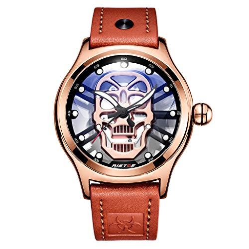 Huacat Herrenuhr Quarz Lederarmband hohl Schädel Hintergrund Messer Zeiger transparent Bodenabdeckung leuchtende mechanische Uhr