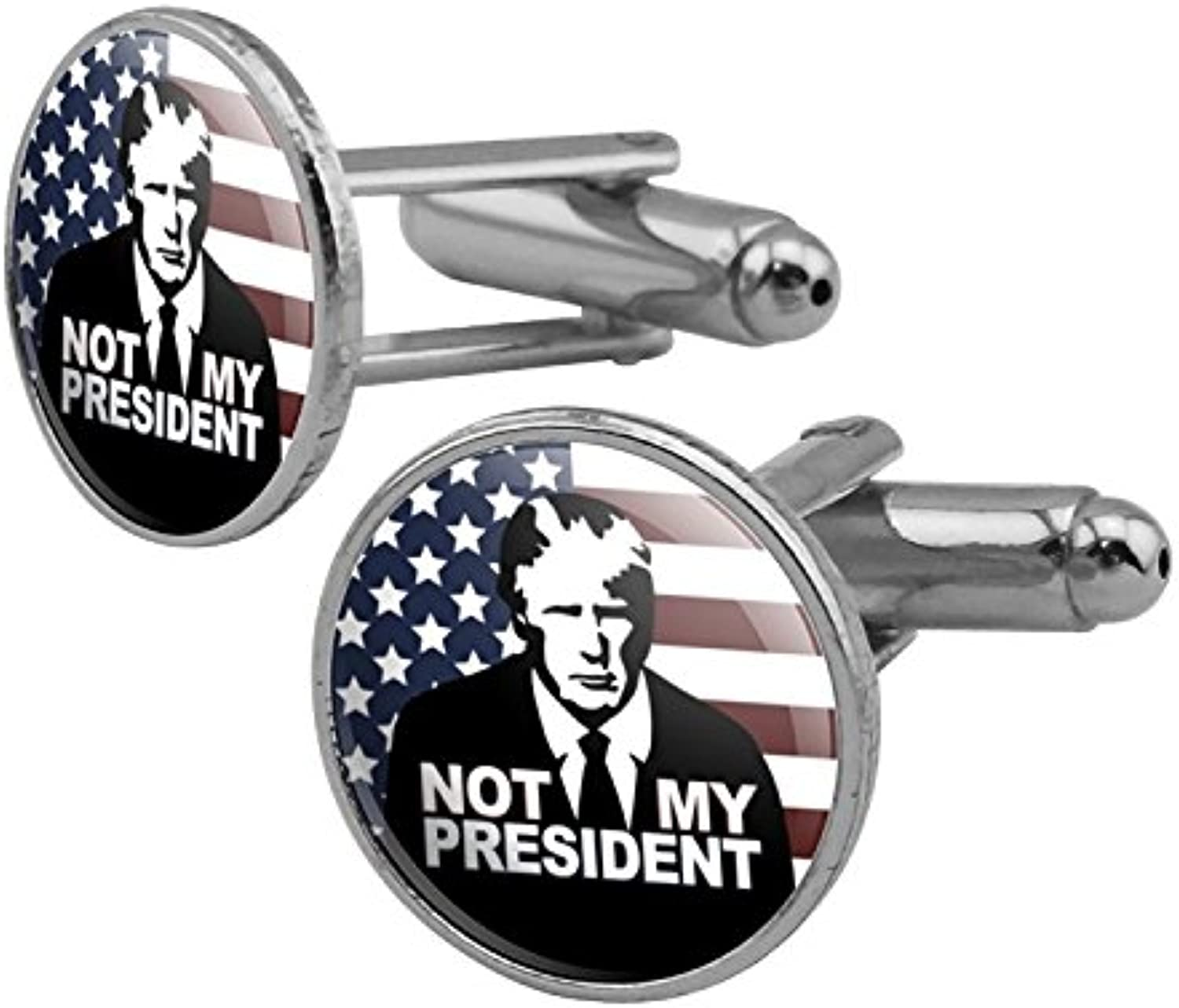 Graphics and More Not My President Anti Donald Trump Round Cufflink Set Silver Color