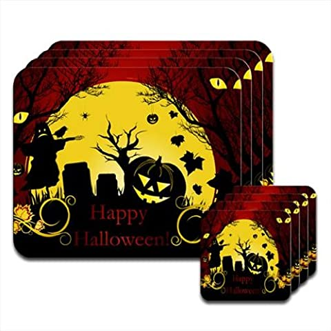 Halloween Pumpkin Bats Scarecrow Set of 4 Placemat & Coasters by Fancy A Snuggle