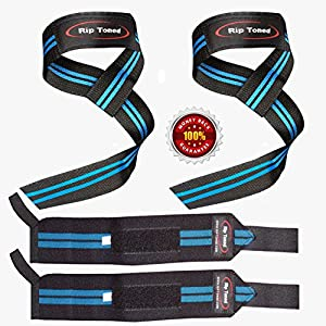 Zughilfe + Wrist Wraps Bundle (je 1 Paar) von Rip Straffen – * Bonus Ebook * für Gewichtheben, Xfit, Workout, Fitness, Powerlifting, Bodybuilding, lebenslange Umtausch-Garantie.