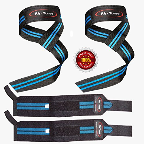 Lifting Straps By Rip Toned (PAIR) - Normal or Small Wrists - Bonus Ebook - Lifetime Warranty - Cotton Padded - Weightlifting, Crossfit, Bodybuilding, Strength Training, Powerlifting (Black/Blue)