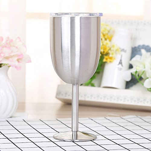 KOLARK Edelstahl Weingläser, 10 Unzen 400ml Vakuum-304 Edelstahl-Cocktailglas Weinkelch Glas Ideal...