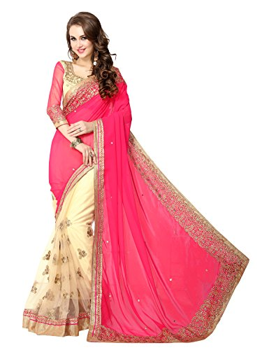 KOROSHNI Art Silk Saree With Blouse Piece(Kr-Nks-1-Pink_Pink Free Size)