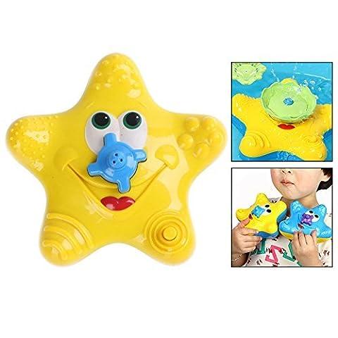 Itian Baby Starfish Bath Toy Diffuseur de baignoire flottante Douche Fontaine d'eau tournante électronique pour enfant, Jaune