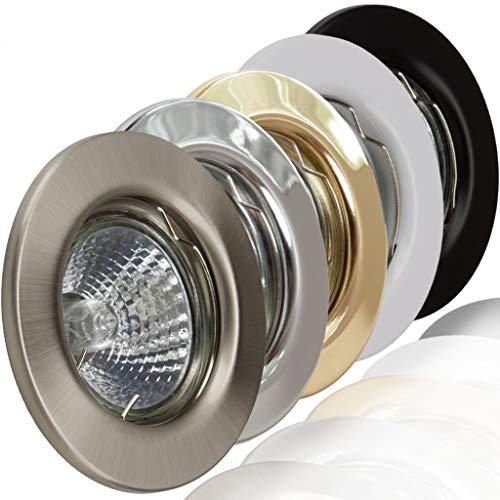 1x Deckeneinbaustrahler Deckeneinbauleuchte Einbaurahmen Einbaustrahler Einbauleuchte Einbauspot Einbauring Metall LED Halogen GU10 MR16 (Weiß) -