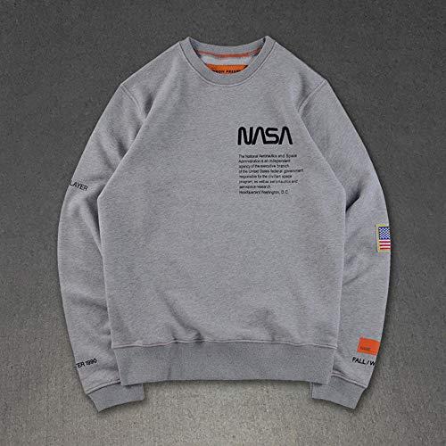 Unisex NASA,Hoodie,T-Shirt Langarm - Slim - Fit - Training - Hoodie, Schwarz/Grau/Rot/Blau/Weiß,Grau,L (T-shirt Blau Logo Licht)
