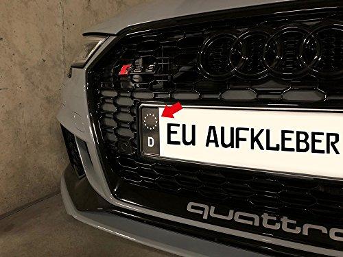 KFZ Kennzeichenaufkleber zum einfachen ändern der blauen EU Nummernschild Fläche in schwarz - 6