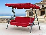 QUICK STAR Hollywoodschaukel 3 Sitzer Klappbar mit Liegefunktion Schaukel Gartenliege Triumph Rubin