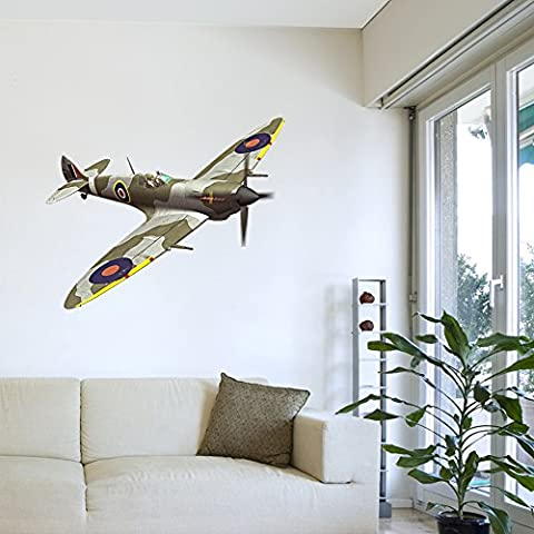 Spitfire Aeroplane Wall Art Sticker Decal Mural for Boys Girls Room Lounge Kitchen Bedroom