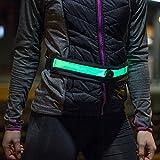 Gürteltasche Sport Bauchtasche LED Laufgürtel - leuchtet im dunkeln - mit Handytasche Smartphone bis 5,2 Zoll (13,2cm) Laufgurt schwarz / gelb