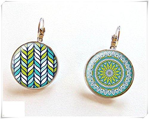 Pendientes asimétricos, bohemios, patrones bohemios, pendientes de mandala, pendientes étnicos