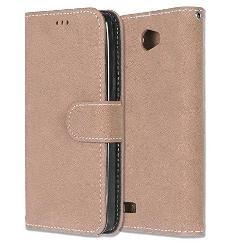 LG Bello II / Bello 2 Hülle, Chreey Matt Leder Tasche Retro Handyhülle Magnet Flip Case mit Kartenfach Geldbörse Schutzhülle Etui [Khaki]