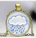 Glas Kuppel Schmuck, Rain Cloud Halskette, rainy day, Spring Duschen Foto Halskette, Bilder Anhänger