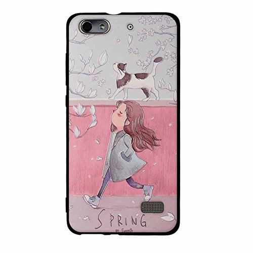 Huawei Honor 4C/G Play Mini case,FUBAODA Fashion Creative Black Border 3D Contemporary Chic Hybrid Shock Absorbing Cute Design Matte full-body Protective for Huawei Honor 4C/G Play Mini [girl and cat]