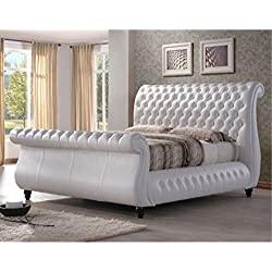 Lux Furniture UK Super King Size Bed Canterbury White Real Leather Finish