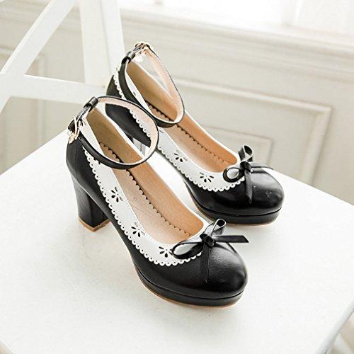 YE Damen Knöchelriemchen Pumps Blockabsatz High Heels Plateau mit Schleife und Schnalle 7cm Absatz Elegant Schuhe Schwarz