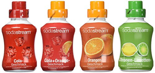 4er Packung Sirup Softdrink Cola, Orange, Zitrone-Limette, Cola-Mix SodaStream