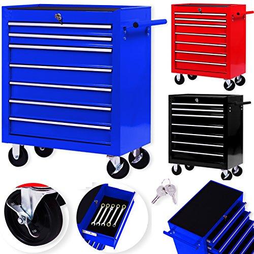 Masko Werkstattwagen - 7 Schubladen, blau  Abschließbar  Massives Metall | Mobiler Werkzeug-Wagen...