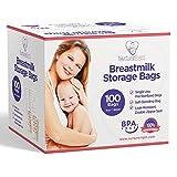 100 sacchetti per la conservazione del latte materno - 6oz / 180ml Sacchetti presterilizzati e SENZA BPA, progettati per uno scongelamento ancora più veloce con meccanismo a prova di perdita Bow-Tiger