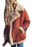 Minetom Damen Mode Warm Casual Streetwear Winter Wildleder Wolle Motorradjacke Mantel Fleece Outwear Jacke Parka Mit Taschen Hellrot DE 36