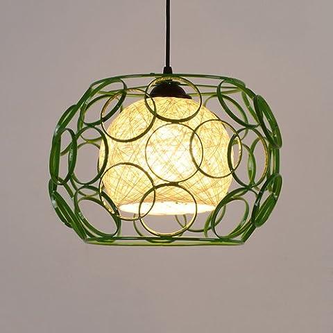 Modeen Simplicité moderne Iron Grass Rattan Willow plafond suspendu lumières