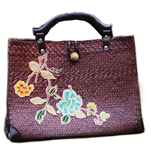 broderie à la main en tricot / armure toile de sac à main de bambou rotin paille / sacoche / Sacs portés épaule / Sacs portés main pattern 3 type brun