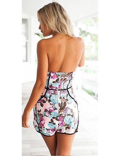 GSP-Combinaisons Aux femmes Sans Manches Vintage/Sexy/Plage/Décontracté/A Motifs Polyester pink-s