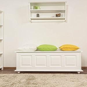 Sitzbank mit Stauraum Kiefer massiv Vollholz weiß lackiert 179 ? Abmessung 154 x 50 x 46 cm