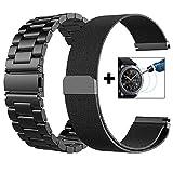 Galaxy Watch 46mm/Gear S3 Frontier/Classic Watch Armband, VIGOSS 22mm Silber voll magnetischer Schlaufe, Mailänder Edelstahl Armband Uhrenarmband für Samsung Gear S3 Watch (Metall+Mesh, Schwarz)