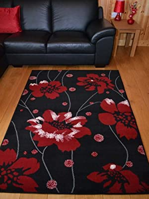 Trend Black And Red Poppy Design Rug. 8 Sizes Available - low-cost UK light store.