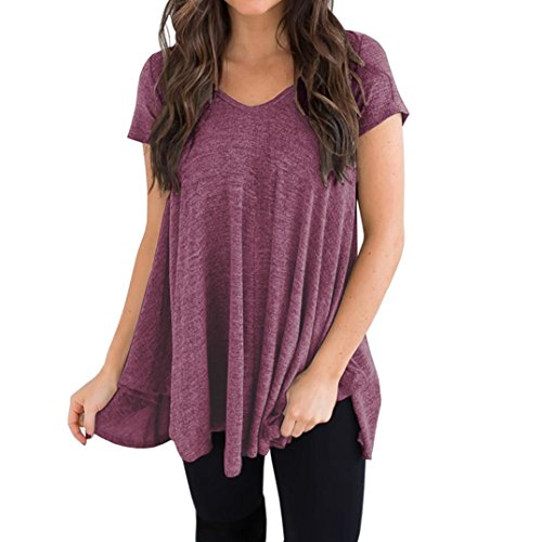 VEMOW Muttertag Geschenk Elegant Damen Damen Mädchen Plus Size Kurzarm V-Ausschnitt Unregelmäßiger Saum Lose Casual T-Shirt Top Bluse(Lila, EU-48/CN-L)