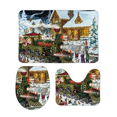 Yilooom Santa's Express Non Slip Bathroom Mat Sets 3 Piece Home Doormat Christmas Holiday Decor 20 X 32 Inch -
