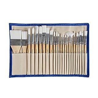Unbekannt 24er Pinsel-Set-Diverse Pinselarten mit Malmessern - ideal für alle Bereiche der Kunst und Malerei