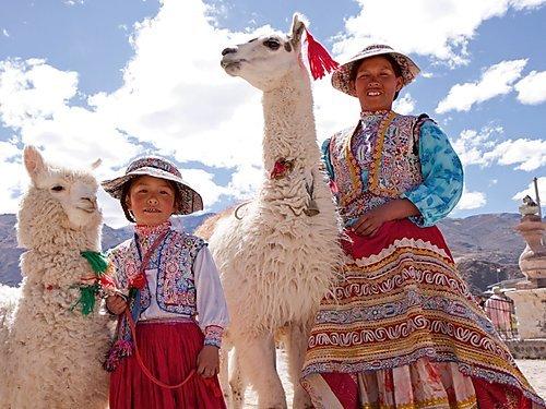 Frau und Mädchen mit Lama und Alpaka 1000 Teile Puzzle Quer