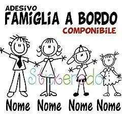 Idea Regalo - STICKEREDO Adesivo famiglia a bordo, family sticker, adesivo bimbo a bordo