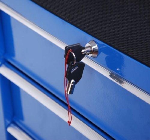 Homcom® Fahrbarer Werkstattwagen Werkzeugwagen Rollwagen Werkzeugkasten mit 5 Schubladen blau - 4