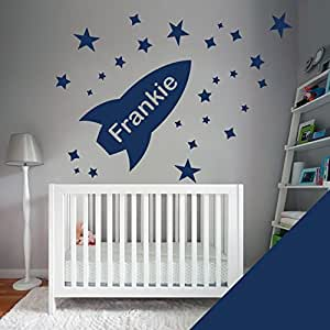 Custom Wall Art Sticker - Boys Bedroom - Rocket, Stars, Name - Just message us with the name! -