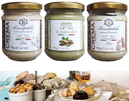 Süße Pistazien-,Haselnuss- und Mandel-Creme (40% Nussanteil) 3 x 190 g, Italien/Brontedolci