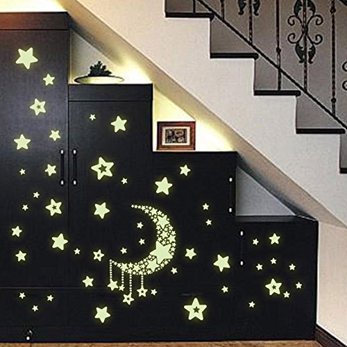 Ymai Luminous Fluorescent Stickers Moon and stars 109pcs Glow in the Dark Extra Thick and Long Brilliant Self-Adhesive Fluorescent Wall Sticker Modern Wall Decoration