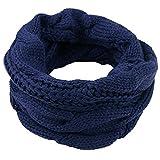 Einfarbiger Loop Schlauchschal, Winter Herbst Warmer Strick Loop Schal, Herren-Schal und Damen-Schal, Unisex (Blau)