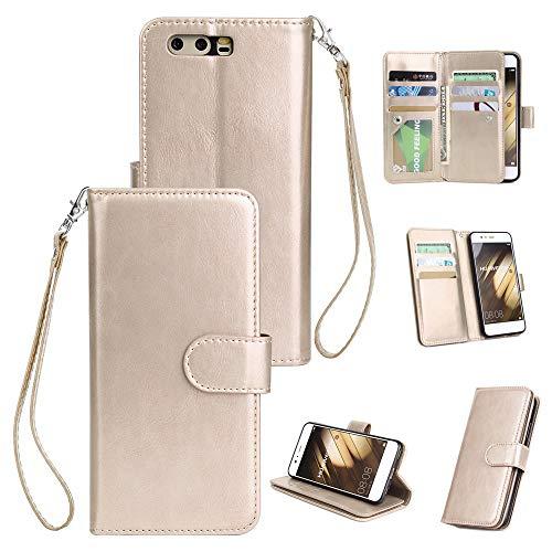Slynmax Huawei P10Phone case 9carte del portafoglio in pelle + 1* Stylus pen, Gold