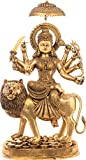 Exotic India Very Large Simhavahini Goddess Durga Standing on a Mountain - Brass Statue