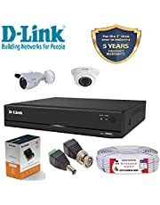 D-Link 4 Channel CCTV 1MP Kit 1 Dome & 1 Bullet with All Ac